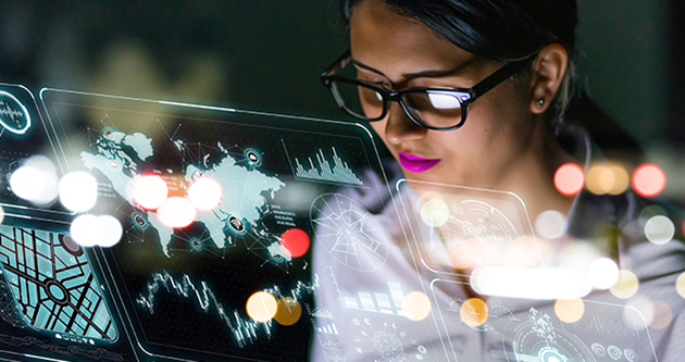 Photo of woman looking at futuristic screen